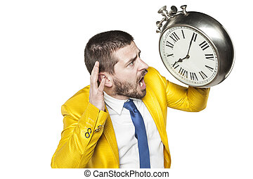 businessman trying to hear time