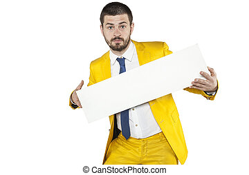 happy businessman holds a copy space for your text