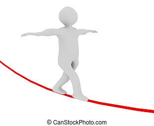 3d man walking on rope. rendered illustration