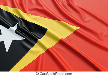 East Timor flag. Wavy fabric high detailed texture. 3d...