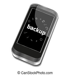 Text Backup. Web design concept . Smartphone with business web icon set on screen