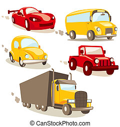 Cartoon vehicles, isolated illustration