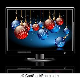 LCD panel with christmas balls