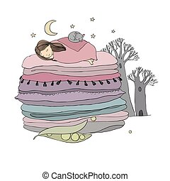 Princess on the Pea. Blankets and pillows. isolated objects...