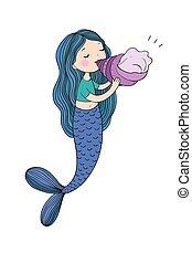 Beautiful little mermaid with seashell. Siren. Sea theme. -...