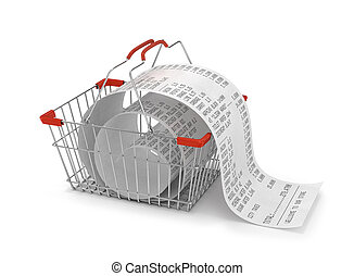 shopping backet with store paper receipt isolated, 3d...