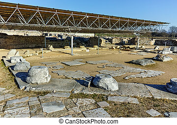 Ruins of octagon church in the archeological area of ancient...