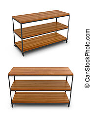 Shop shelf for shoes or accessories for clothing on a white background. 3D illustration