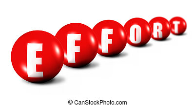 Effort word made of 3D spheres on white background, focus...