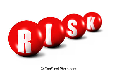 Risk word made of 3D spheres on white background, focus set...