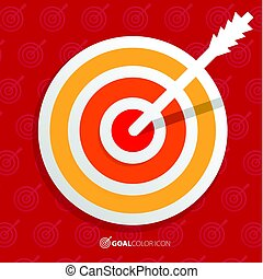 Business objective concept. Successful shot in the darts target. Vector illustration.