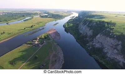 Aerial Russian countryside in a picturesque landscape among...