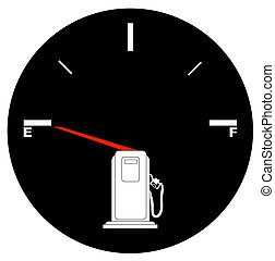 fuel gauge with arrow pointing to empty
