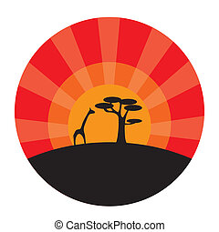 Giraffe and tree at sunset background