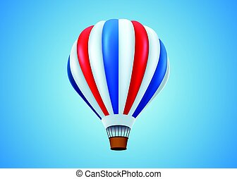 Hot air balloon in flight background.