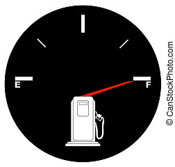 fuel gauge with arrow pointing to full
