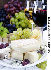 Grape, wine and cheese - Grape and cheese with a bottle and...