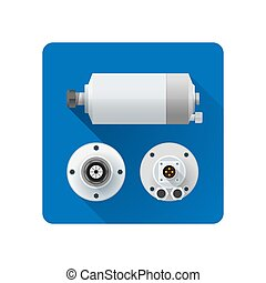 vector electric motor flat illustration - vector colored...