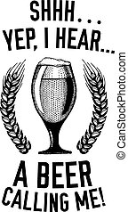 Beer quote Hand drawn vector image with quote about beer, lager, stout, ale