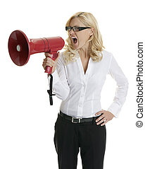 Young business woman shouting into a red megaphone, isolated on white background