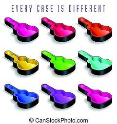 A rainbow of nine guitar cases