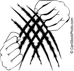 Hands Tearing Surface - Human hands tearing surface, line...