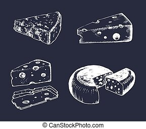 Vector cheese set. Vintage hand drawn parmesan, cheddar etc...