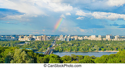 Panoramic view of Kiev, Ukraine - Panorama of Kiev with the...