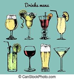 Drinks menu. Hand sketched cocktails glasses. Vector set of...