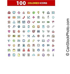 100 web icons set, signs, vector illustration.