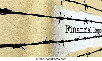 Financial report against barbwire