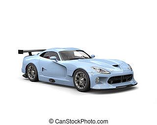 Light sky blue modern sports car - studio shot