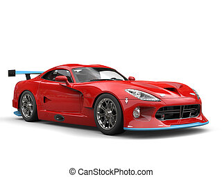 Raging red modern superacar with cool blue details - studio shot