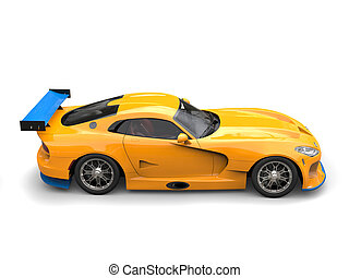 Sun yellow supercar with blue aero fins and wings