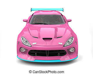 Candy colored supercar - front view closeup shot
