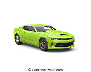 Chartreuse modern muscle car - studio shot