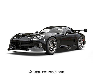 Sniny black modern fast supercar - studio shot