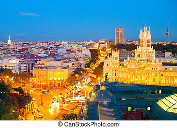 Cityscape of Madrid, Spain - Skyline of Madrid at twilight....
