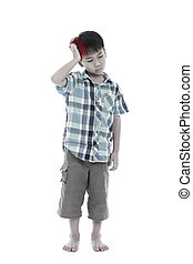Full body.  Asian handsome boy have a headache. Isolated on white background.