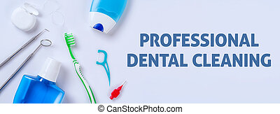 Oral care products on a light background - Professional...