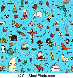 Around the World seamless pattern in colors on blue background