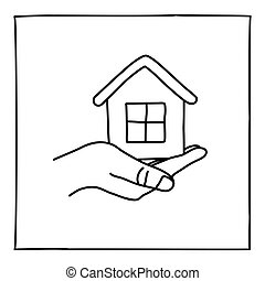 Doodle house on a hand icon