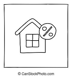 Doodle real estate house icon. Black white symbol with...