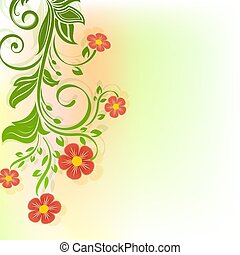 Abstract red flowers spring background
