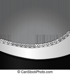 Black and gray striped vector background with wavy copy...