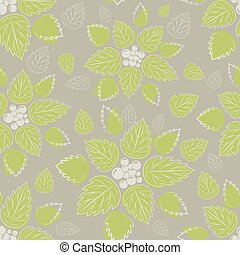 Seamless green leaves on beige background
