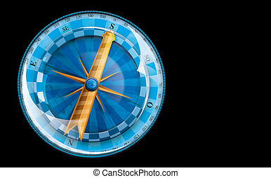 Blue compass with yellow arrow heading south on black background with saved selection