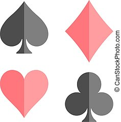 Poker card suits - hearts, clubs, spades and diamonds - on white background.