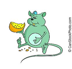 Happy fat mouse holding a piece of cheese, vector illustration.