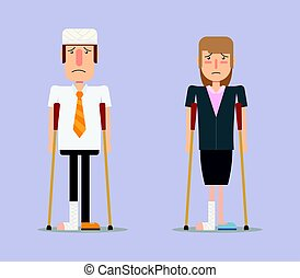 injured business man and woman - Cartoon character, Business...
